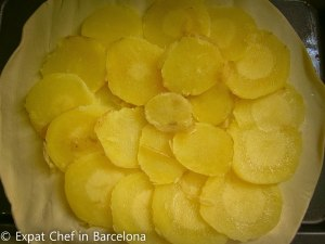 Potatoes over pastry