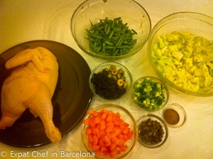Ingredients for Arroz con Pollo