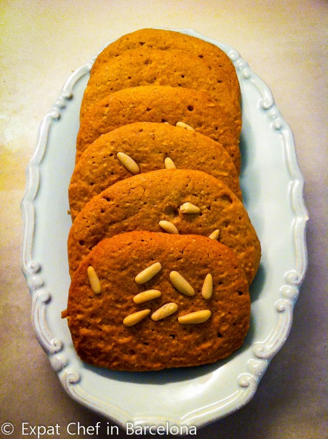 Peanut butter, almond and pine nut slab cookies