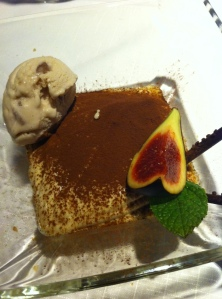Tiramisu with chestnut ice cream