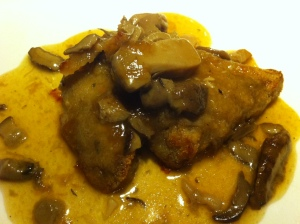 Pigs Trotters with Porcini mushroom and shrimp sauce