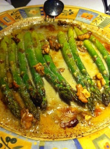 Gratineed Asparagus with Cabrales Cheese and Walnuts
